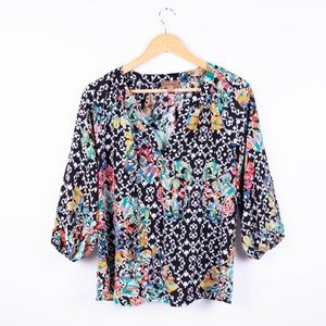 Anthropologie Kachel geo print tropical blouse top